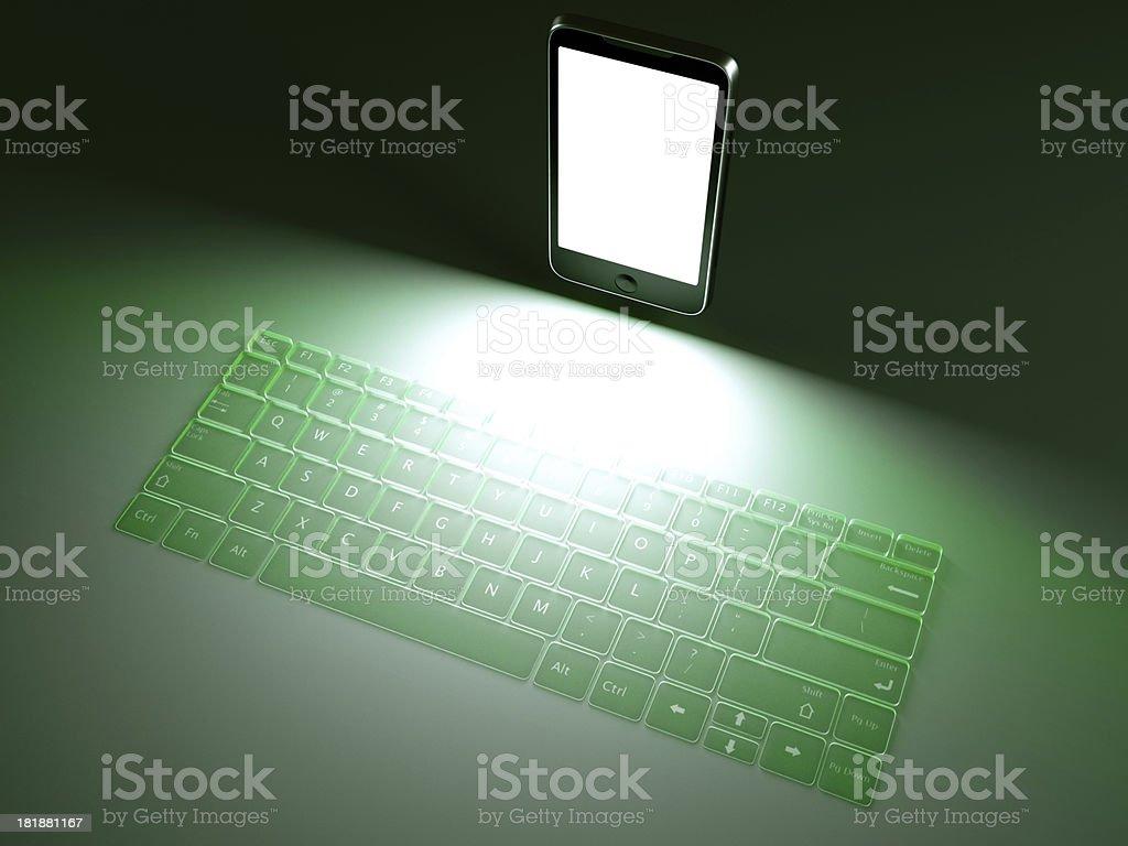 Laser keyboard mobile phone royalty-free stock photo