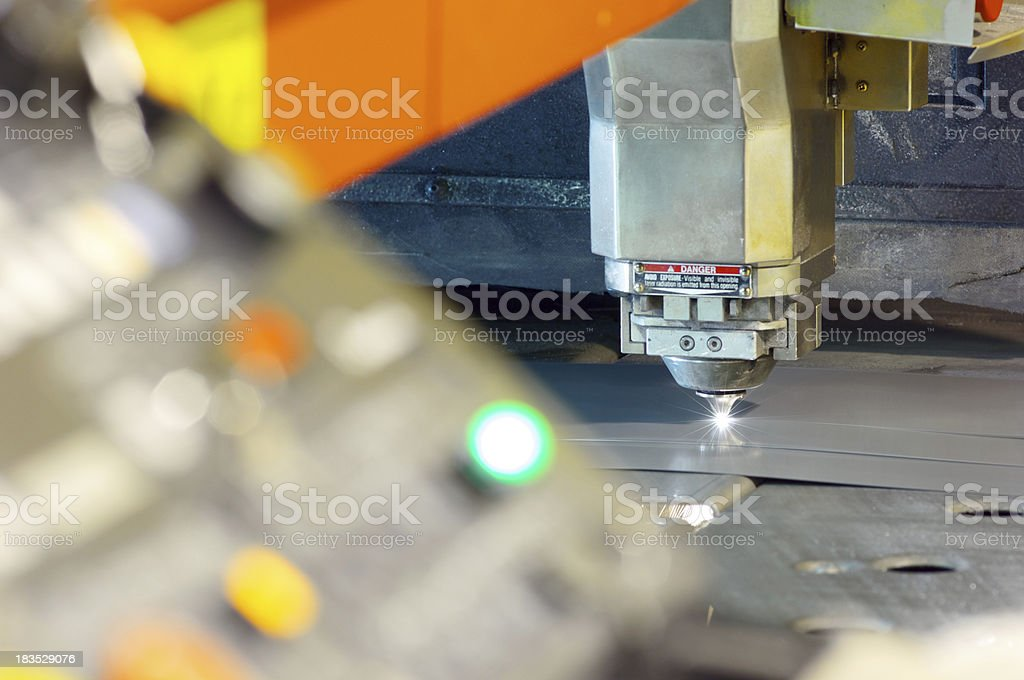 CNC laser metal cutting tool with control panel stock photo
