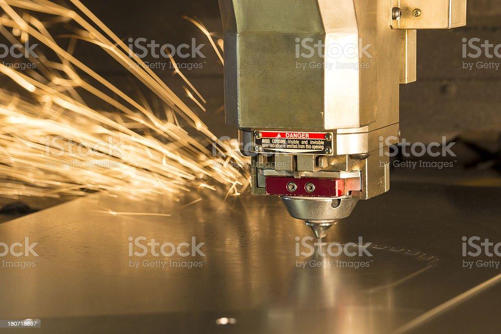 Laser metal-cutting CNC manufacturing machine stock photo
