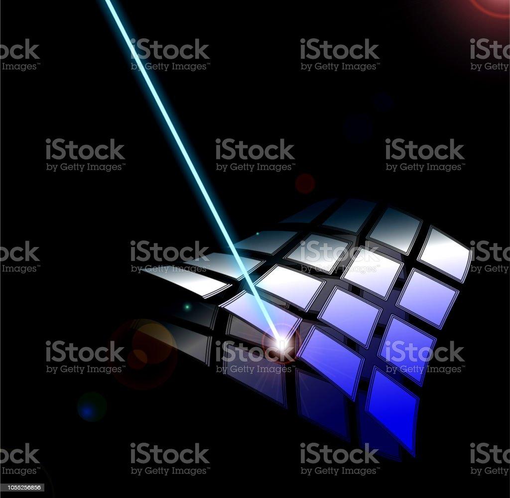 Laser on waving surface stock photo