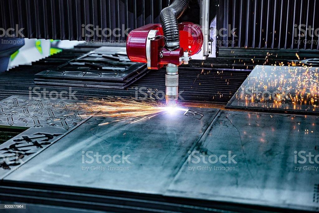 Laser plasma cutting of metal, modern industrial technology. zbiór zdjęć royalty-free