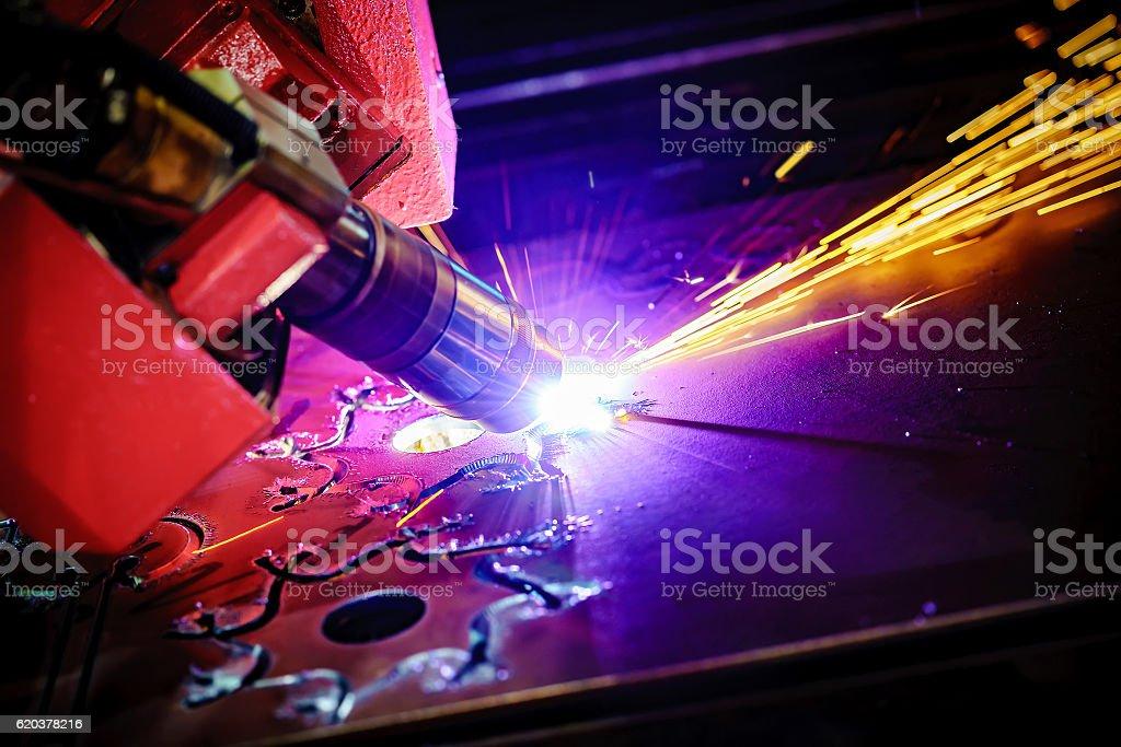 CNC Laser plasma cutting of metal, modern industrial technology. zbiór zdjęć royalty-free