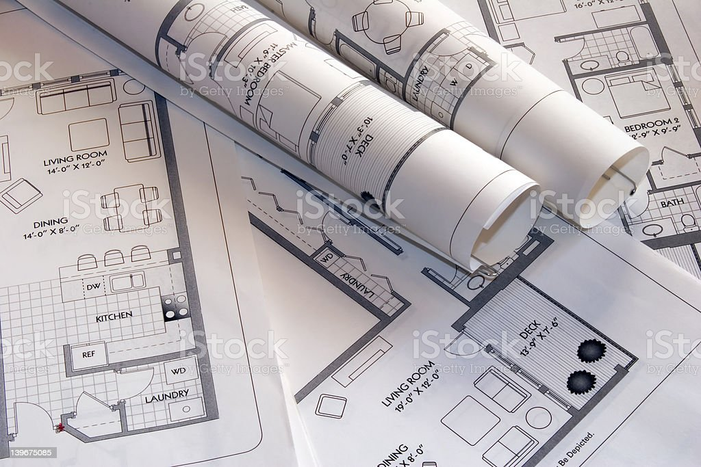 Laser printouts of architectural plan drawings royalty-free stock photo