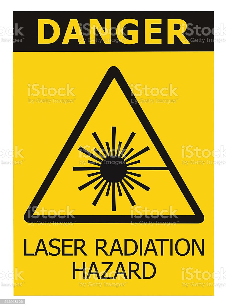 Laser radiation hazard safety danger warning text sign label isolated stock photo