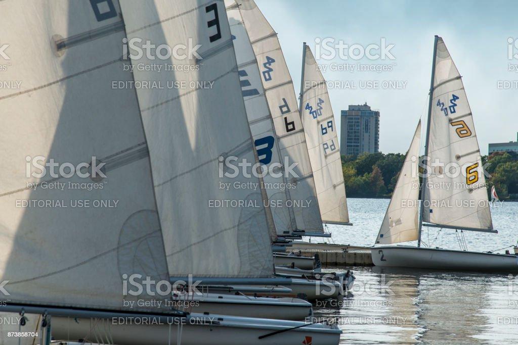 Laser sailing boats in Lake Minnetonka in Minneapolis, USA stock photo