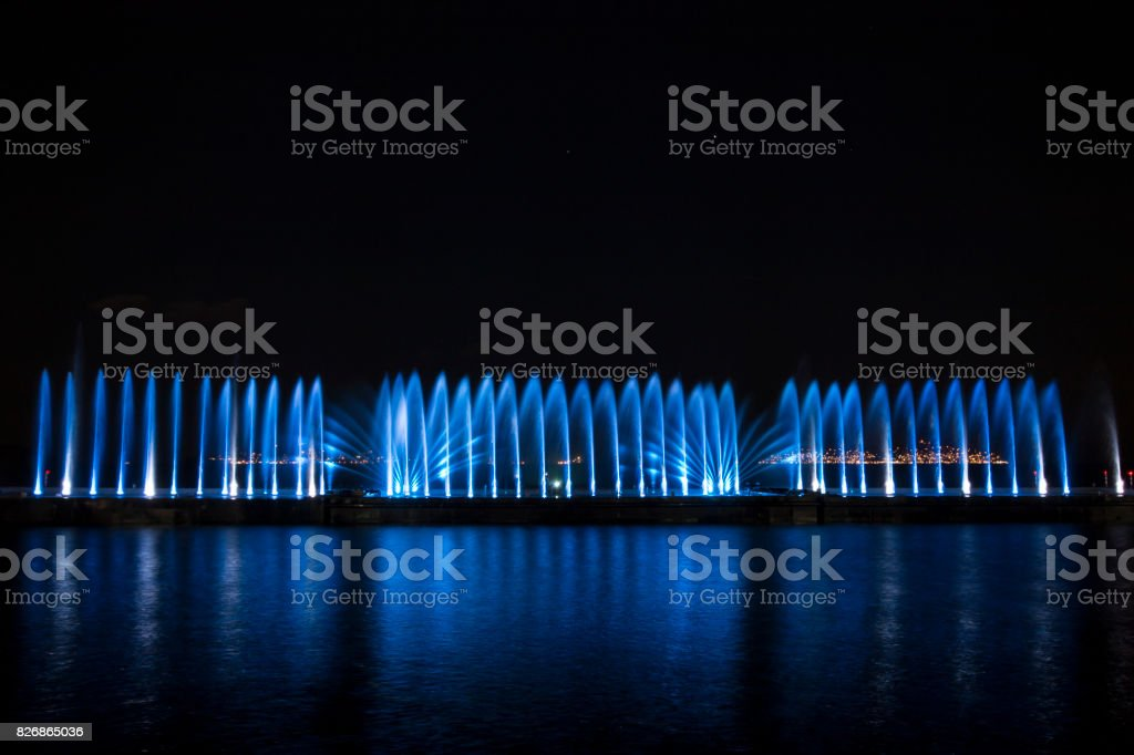 Laser show and water show on the beach of maltepe, stock photo
