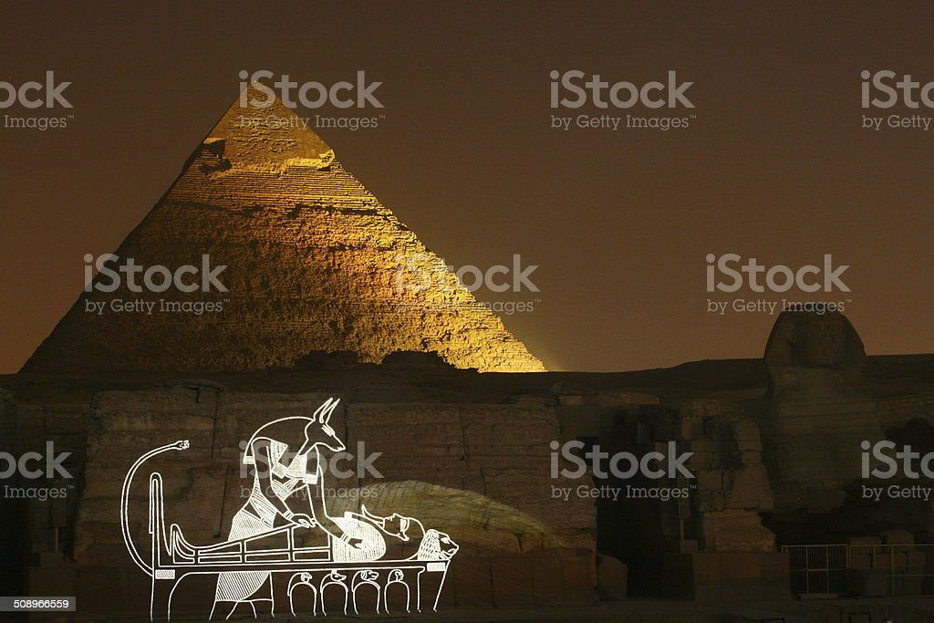 Laser show at Pyramids at night in cairo egypt royalty-free stock photo