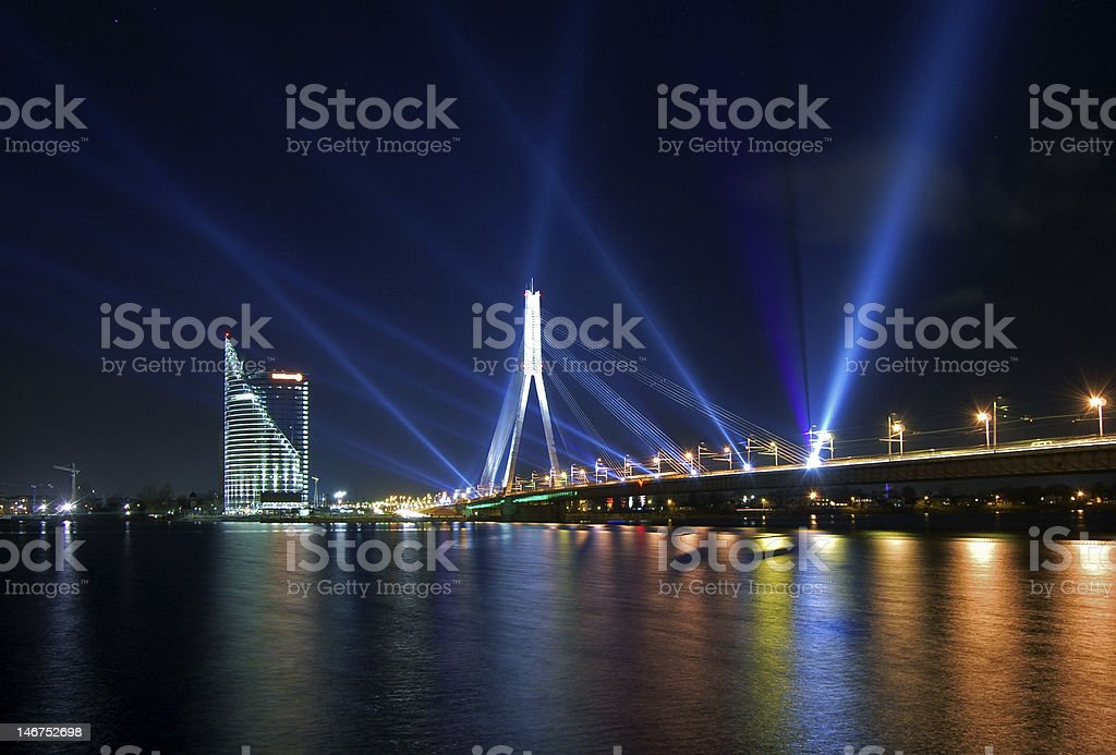 Laser show in Riga royalty-free stock photo