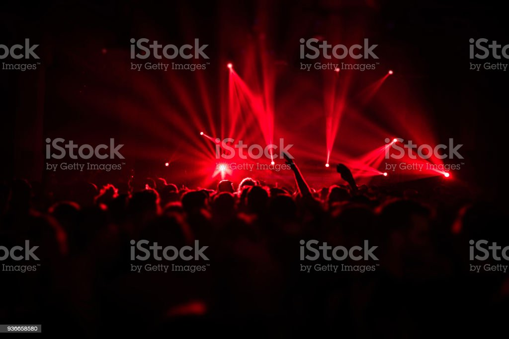 Laser show rays in nightlife party Photo of a night life in Belgrade, Serbia. 2018 Stock Photo