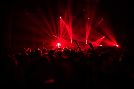 Laser Show Rays In Nightlife Party Stock Photo - Download Image Now