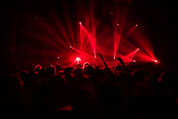 Laser show rays in nightlife party