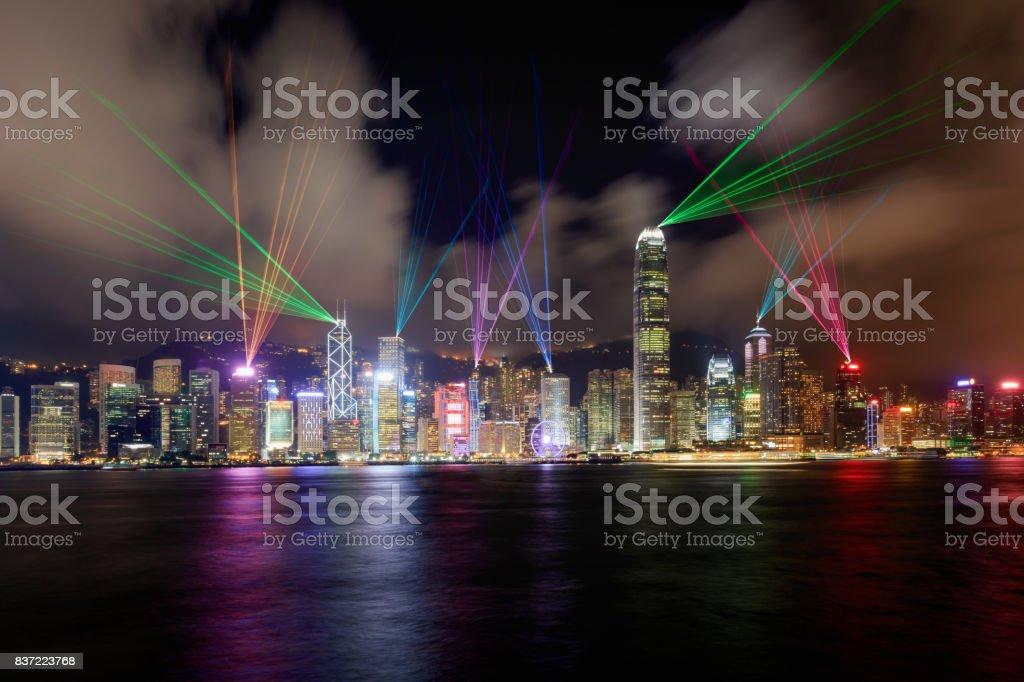 Laser show scenery of Victoria harbor Beautiful laser show scenery of Victoria harbor, Hong Kong Architecture Stock Photo
