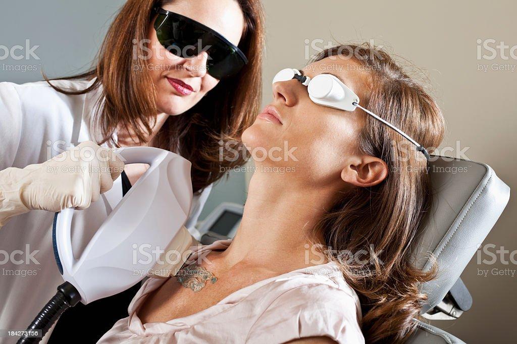 Laser skin treatment stock photo