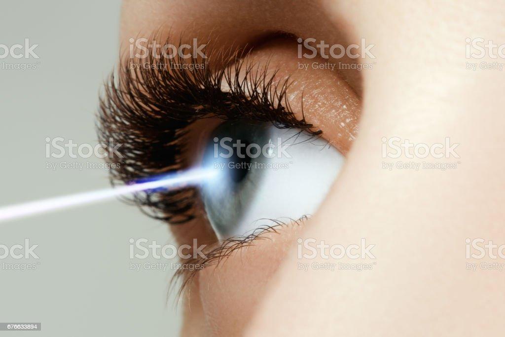 Laser-Sehkorrektur. Frau Auge. Menschliche Auge. Frau Auge mit – Foto