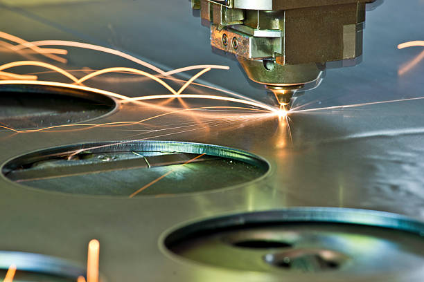 Laser/plasma CNC metal-cutter in operation stock photo