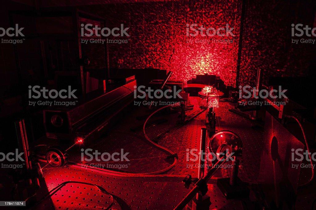 Lasers in a quantum optics lab stock photo