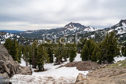 Lassen National Park California, with beautiful mountain scenery and snow, still around in summer