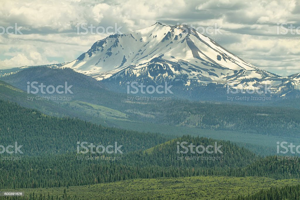 Lassen Peak, Lassen Volcanic National Park, California stock photo