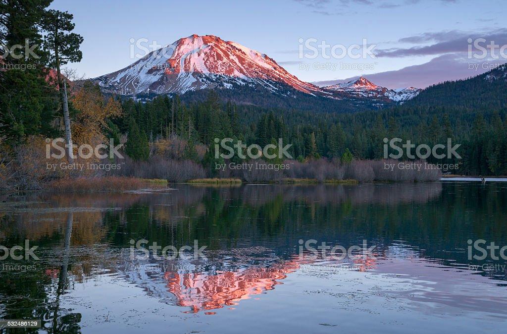 Lassen Peak National Volcanic Park Manzanita Lake Sunset stock photo