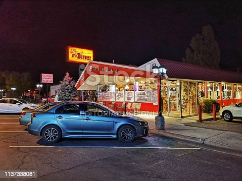 15 october 2018, Williams, AZ, USA: The Goldie's Route 66 Diner along the historic Route 66 in Williams by night, Arizona.
