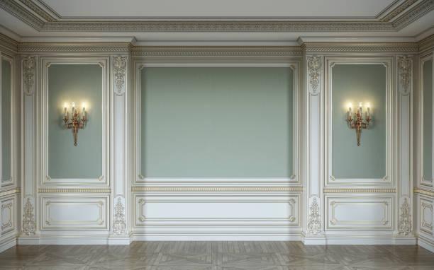 lassic interieur in olivenöl farben mit hölzernen wandverkleidungen, wandlampen und nische. 3d-rendering. - barock stock-fotos und bilder
