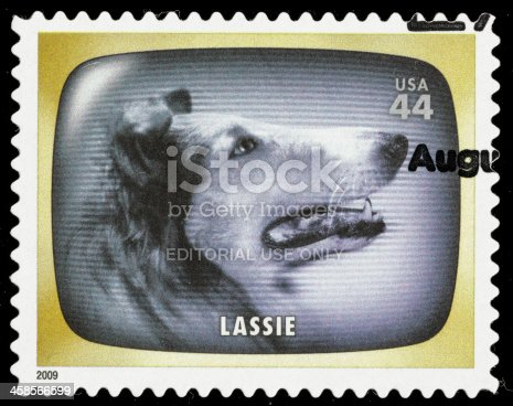 Sacramento, California, USA - June 8, 2012: A 2009 USA postage stamp with a photo from the classic 1950s TV comedy series Lassie. Lassie the TV series first aired in 1954 on CBS, continuing for 17 years until 1971.