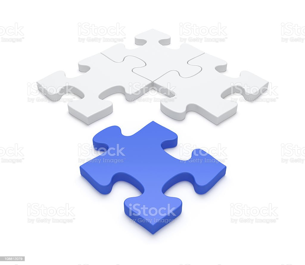 Last Blue Piece of Jigsaw Puzzle stock photo
