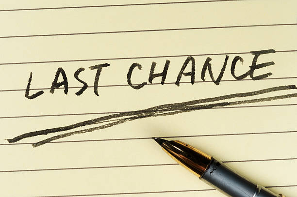 Last chance words stock photo