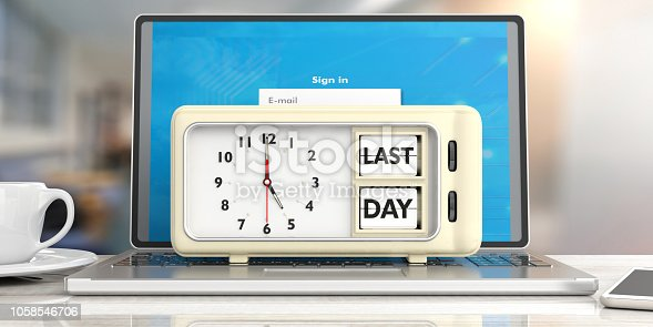 istock Last day deadline message on retro alarm clock on computer, office background. 3d illustration. 1058546706