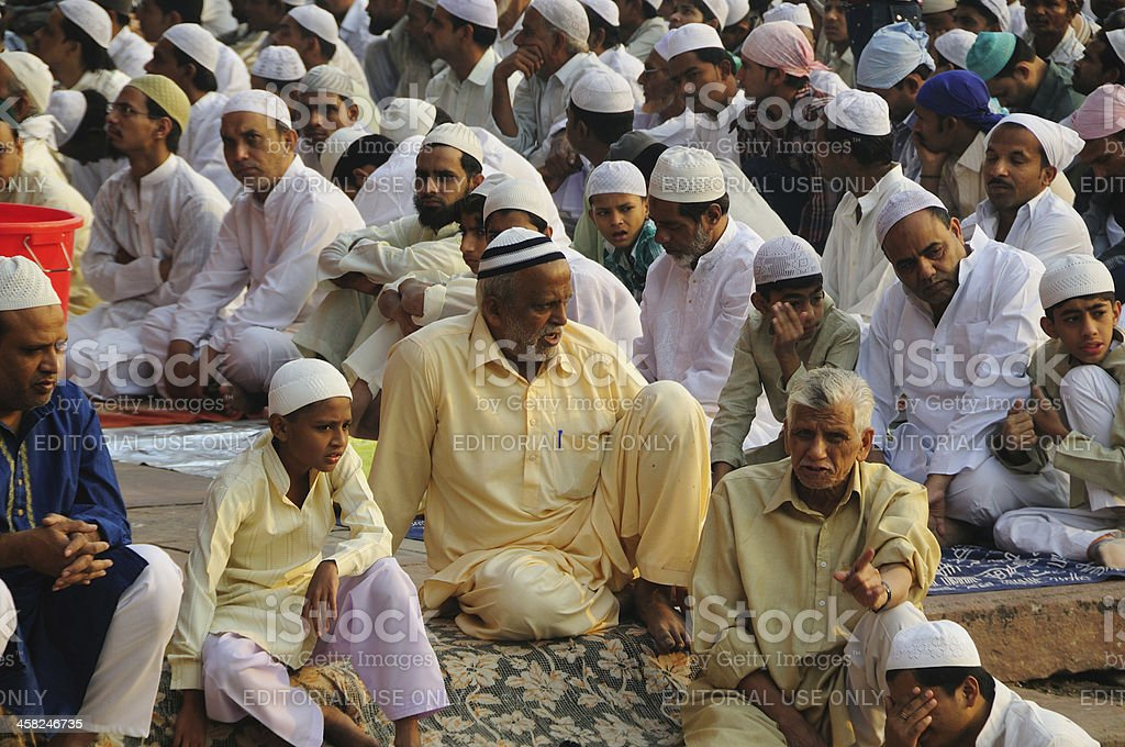 Last day of Ramadan at Jama Masjid in Old Delhi. royalty-free stock photo