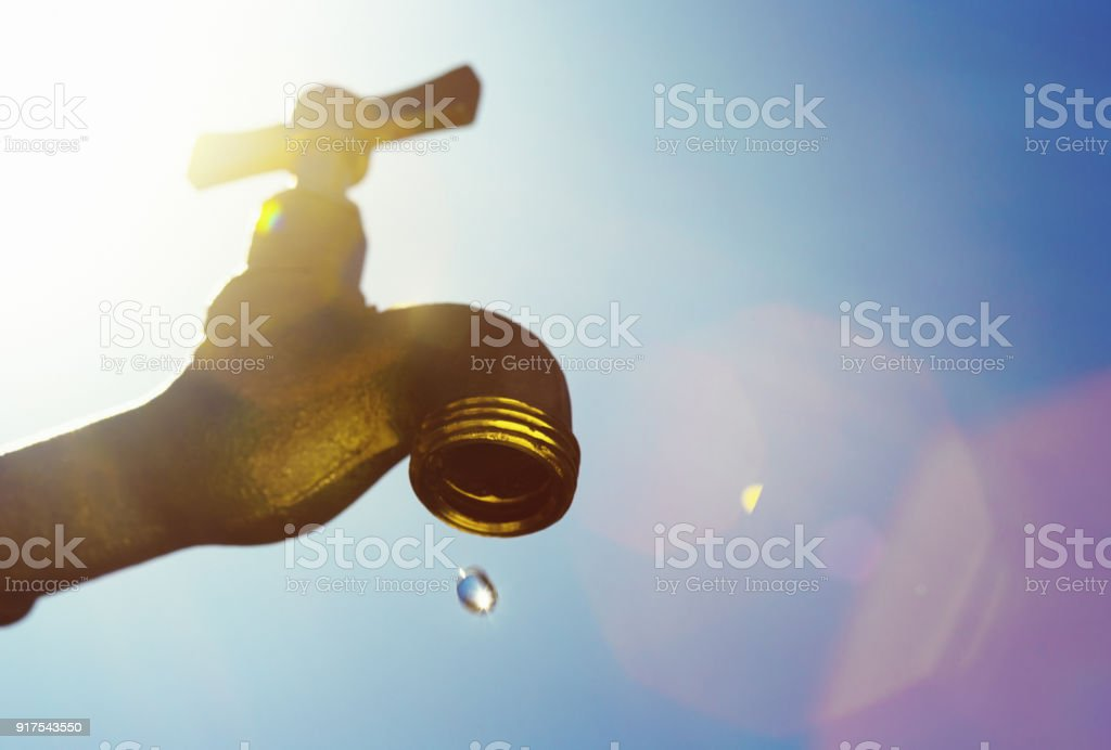 Last drop of water, symbolizing drought stock photo