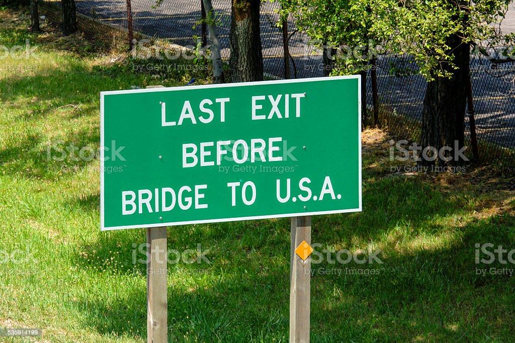 Last Exit Before Bridge to USA stock photo