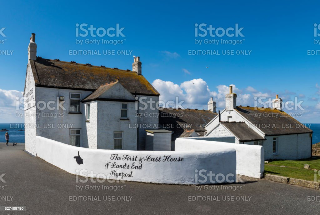 Last House and Cafe Lands End stock photo
