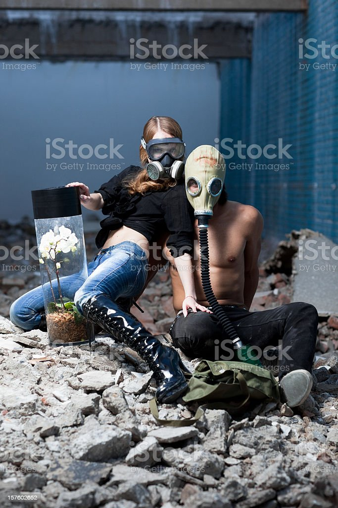 Last human couple standing royalty-free stock photo