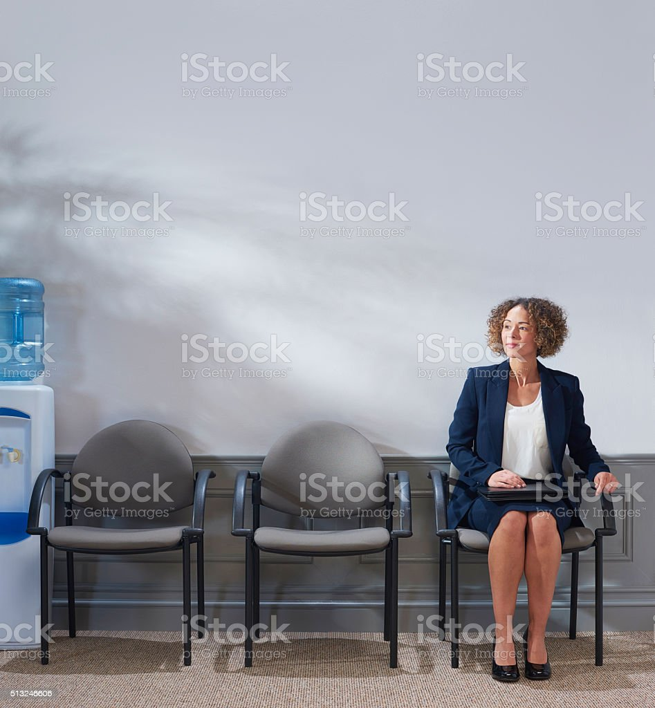 last in line for interview stock photo