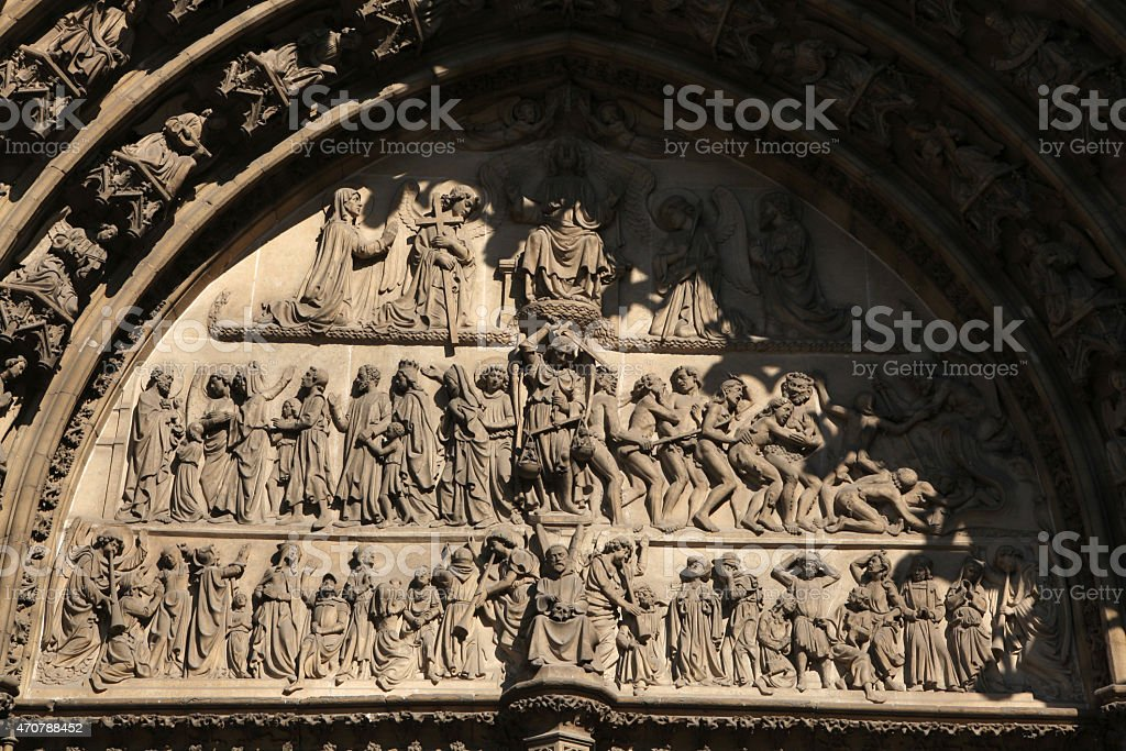 Last Judgment. Gothic portal of the Antwerp Cathedral. stock photo