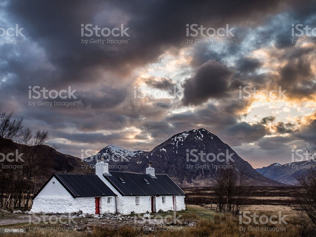 Last Light on Blackrock Cottage, Glencoe stock photo
