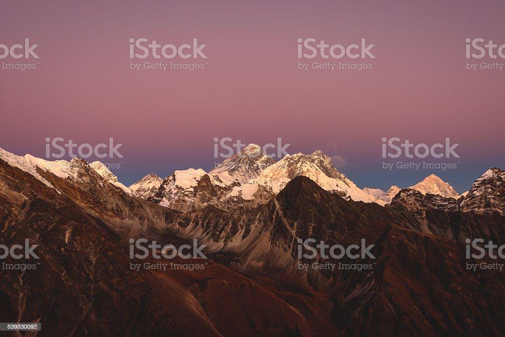 Last light on Everest stock photo