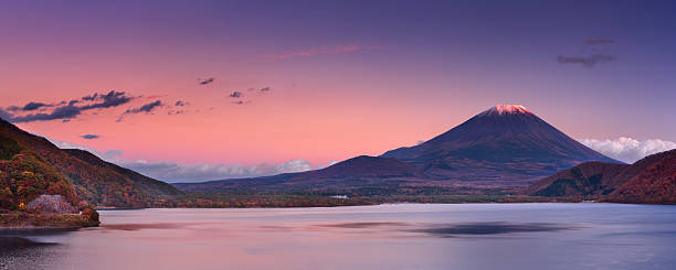 Last light on Mount Fuji and Lake Motosu, Japan stock photo