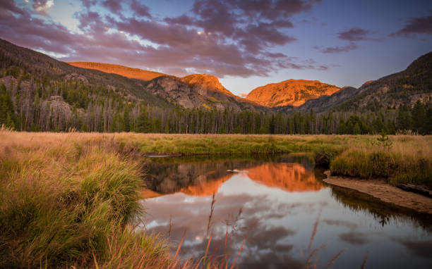 Last Light on Mt Craig The sun sets on Mt Craig, or Mt Baldy as the locals call it, in Grand Lake, Colorado. mount baldy stock pictures, royalty-free photos & images