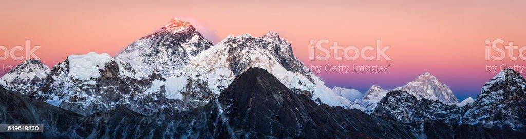 Last light on Mt Everest Himalaya mountain peaks panorama Nepal stock photo