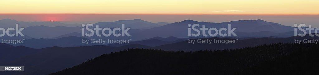 Last Light over Mountain Peaks royalty-free stock photo
