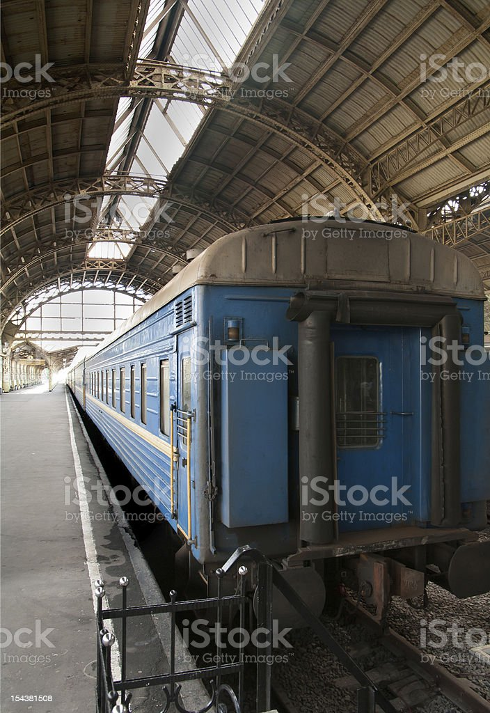 last of the blue train car standing at  station royalty-free stock photo