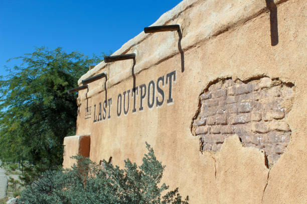 Last Outpost Sign stock photo