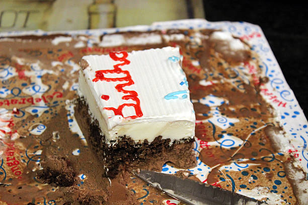 last piece of birthday cake - pam schodt stock photos and pictures