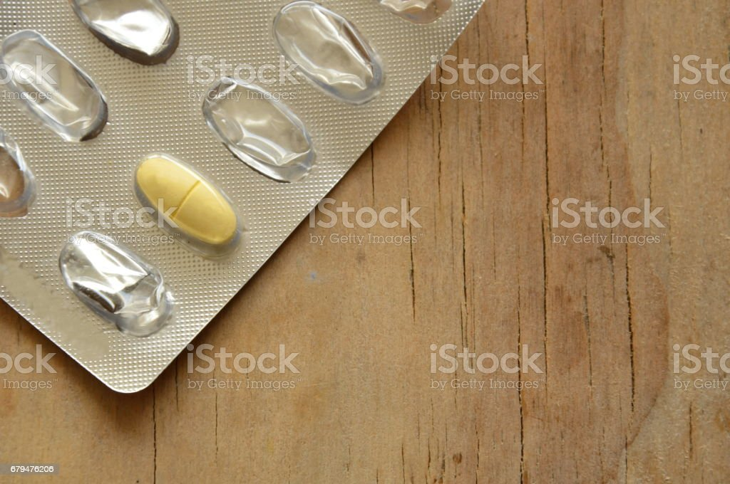 last pill in blister pack on board 免版稅 stock photo