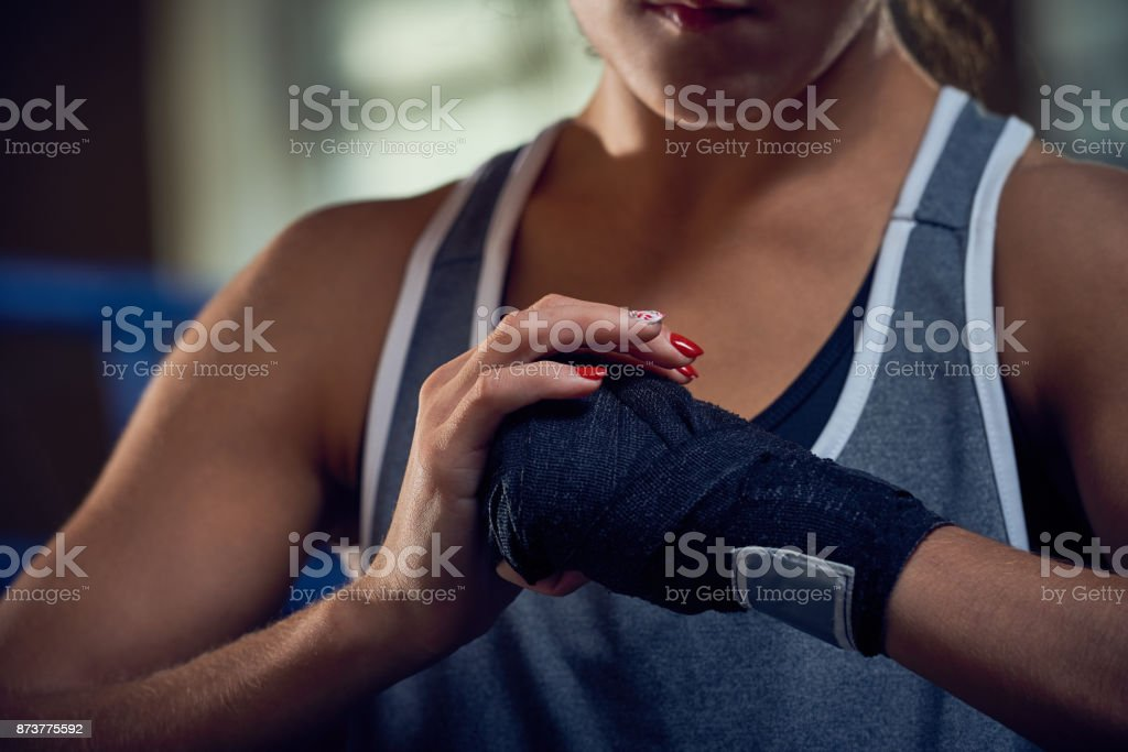 Last Preparations Before Kickboxing Training stock photo