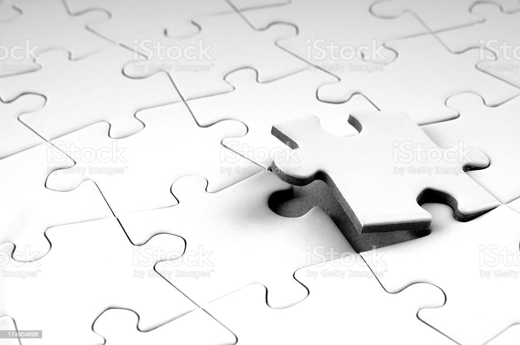 Last puzzle piece stock photo