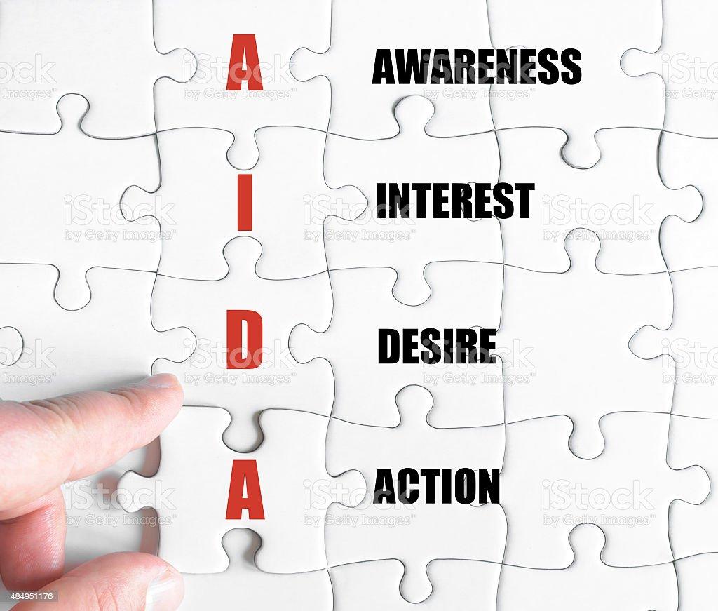 Last puzzle piece with Business Acronym AIDA stock photo