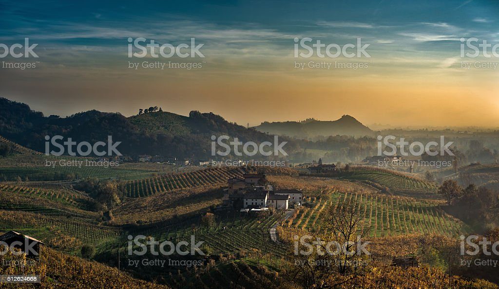 last rays of sun on the Prosecco hills stock photo